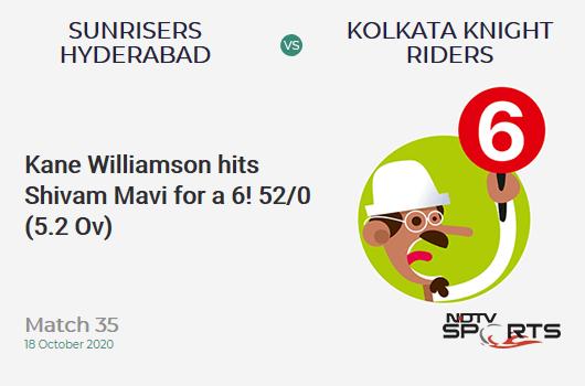 SRH vs KKR: Match 35: It's a SIX! Kane Williamson hits Shivam Mavi. Sunrisers Hyderabad 52/0 (5.2 Ov). Target: 164; RRR: 7.64