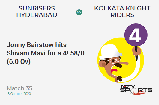 SRH vs KKR: Match 35: Jonny Bairstow hits Shivam Mavi for a 4! Sunrisers Hyderabad 58/0 (6.0 Ov). Target: 164; RRR: 7.57
