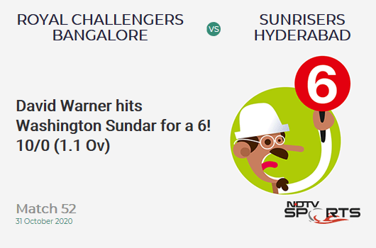 RCB vs SRH: Match 52: It's a SIX! David Warner hits Washington Sundar. Sunrisers Hyderabad 10/0 (1.1 Ov). Target: 121; RRR: 5.89
