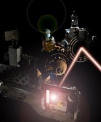 'Experimental set up at the FLASH laser used to discover the new state of matter.'