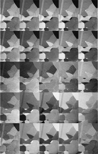 Figure 4: 5 x 5 grid of PRIAS images taken from grain oriented electrical steel. Each ROI image shows different structure.