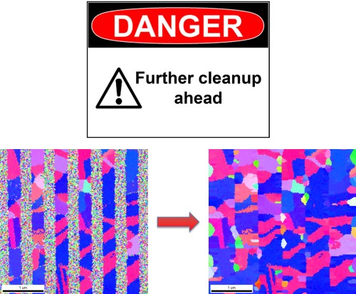 Figure 3: Effect of too rigorous cleanup of partially crystalline material - Cu interconnects.