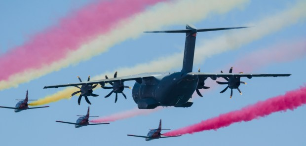 San Javier, Spain, October 18, 2015: Airbus A400M airlifter escorted by Sains Patulla Aguila squad on their 30th anniversary celebration event.