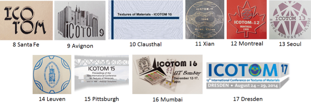 Logos of the ICOTOMs I've attended