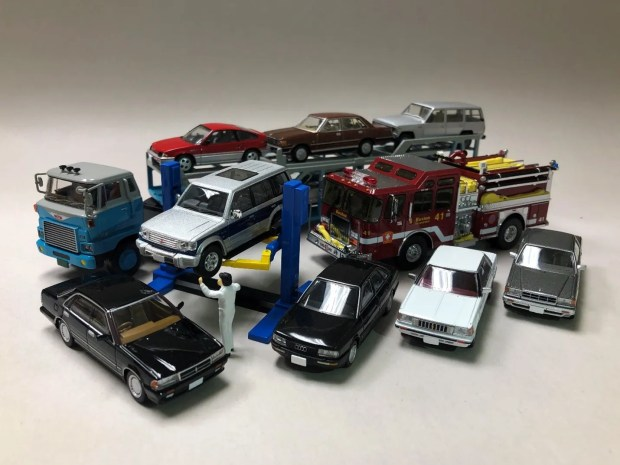 Some matchbox-sized detailed models (1/64 scale) of the cars and trucks that I grew up with.