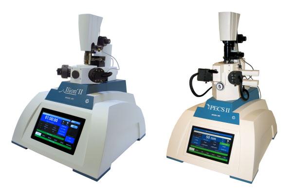 (left) Gatan Ilion II System and (right) Gatan PECS II System.