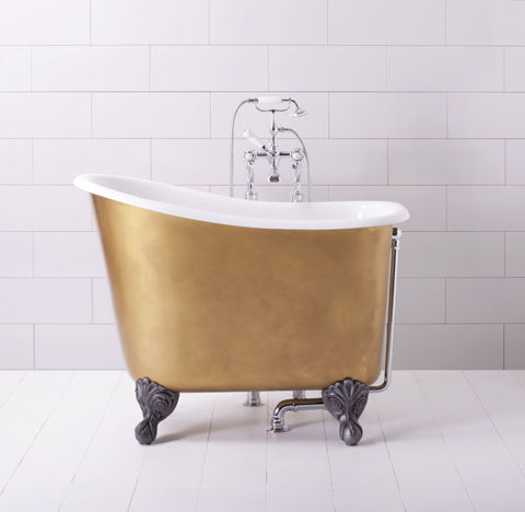 This gilded mini tub measures in at just four feet long, but the gilded exterior and claw foot finish can't be beat. Price upon request; albionbathco.com