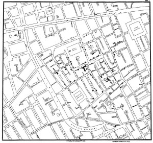 John Snow map of London cholera outbreak
