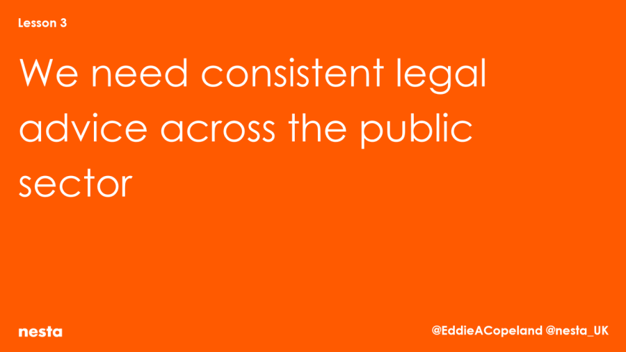 We need consistent legal advice across public sector - Nesta