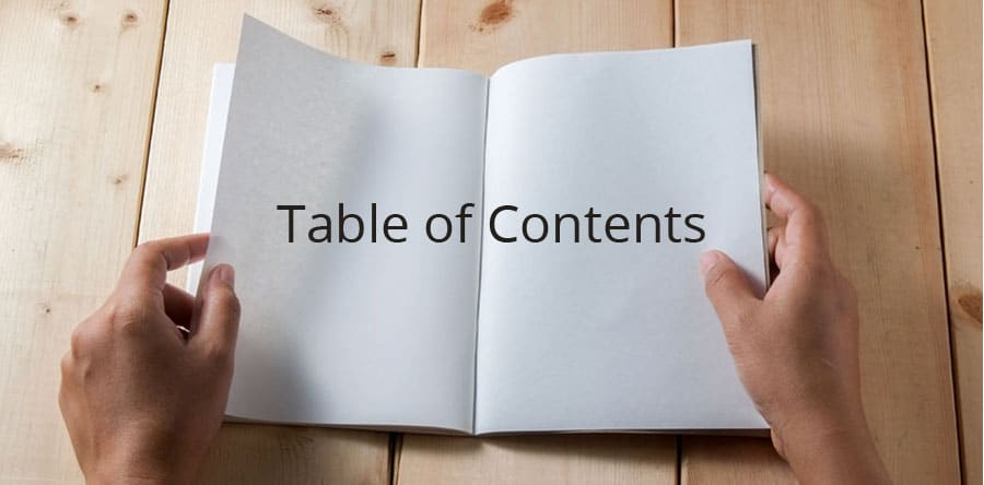 blog table of contents