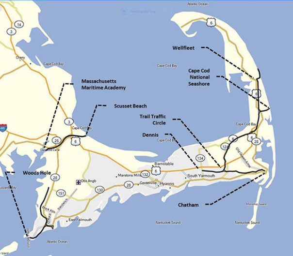 Cape Cod Showing Major Features That I Visited