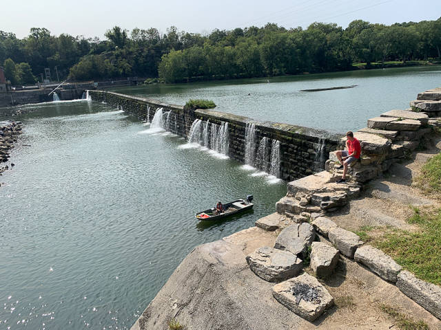 150-year old dams back up large slackwater areas on the Potomac River that are available for all kinds of recreation
