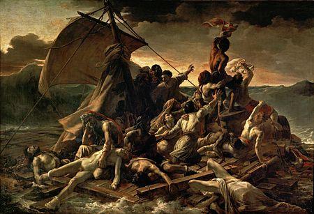 """Gericault, la balsa de la medusa (1818-1819), Museo de Louvre, considerado como cuadro """"denuncia"""", donde se culpaba y reprochaba al gobierno por naufragio de la balsa."""