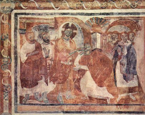 Müstair , representación en la iglesia de San Giovanni , Curación dell'Emorroissa , alrededor del año 830