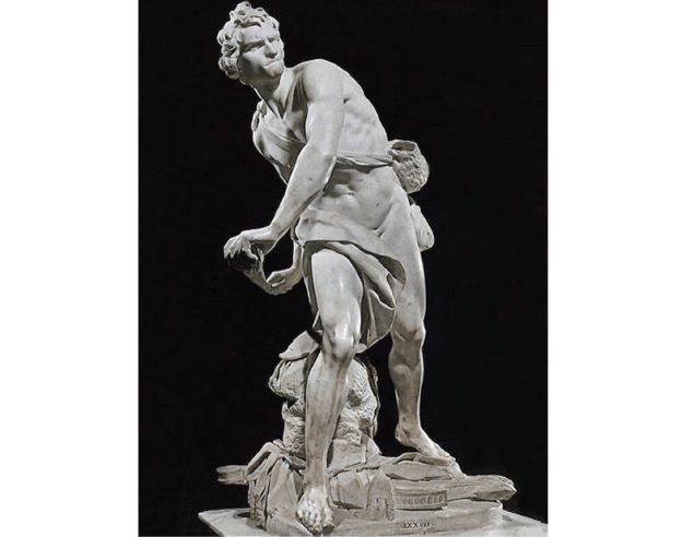 Bernini, David, 1623, Mármol (galeria Borghese, Roma) refleja una vinculación con la escultura antigua, se incluye la figura de Goliat.