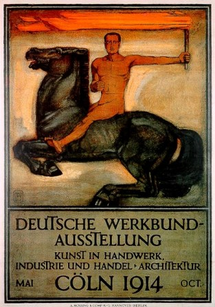 Cartel de Behrens para la Deutsche Werkbund, colonia, 1914, muestra de tipografia.
