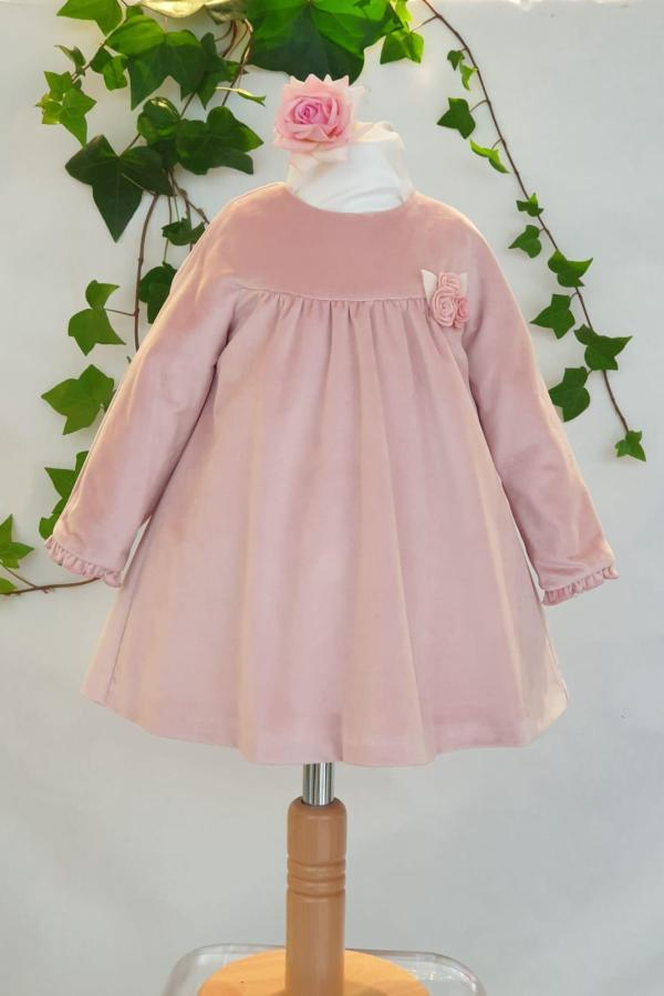 Layette fille robe mayoral velours rose 26 euros du 3 mois au 18 mois