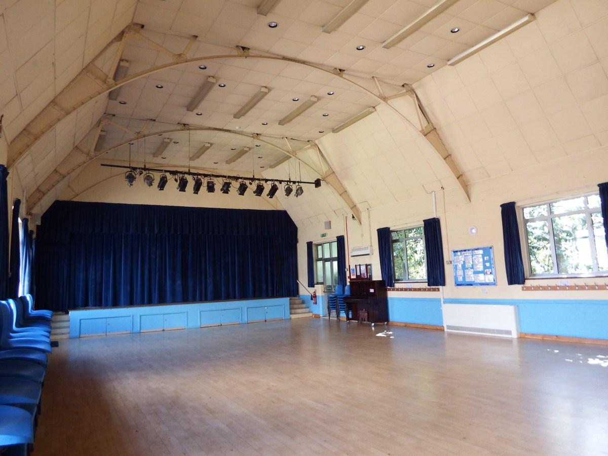 Main hall and stage at Edenbridge Village Hall