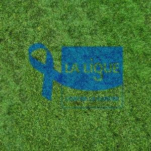Le logo de la Ligue contre le cancer pour mars bleu peint sur gazon grâce à Vegetal Color