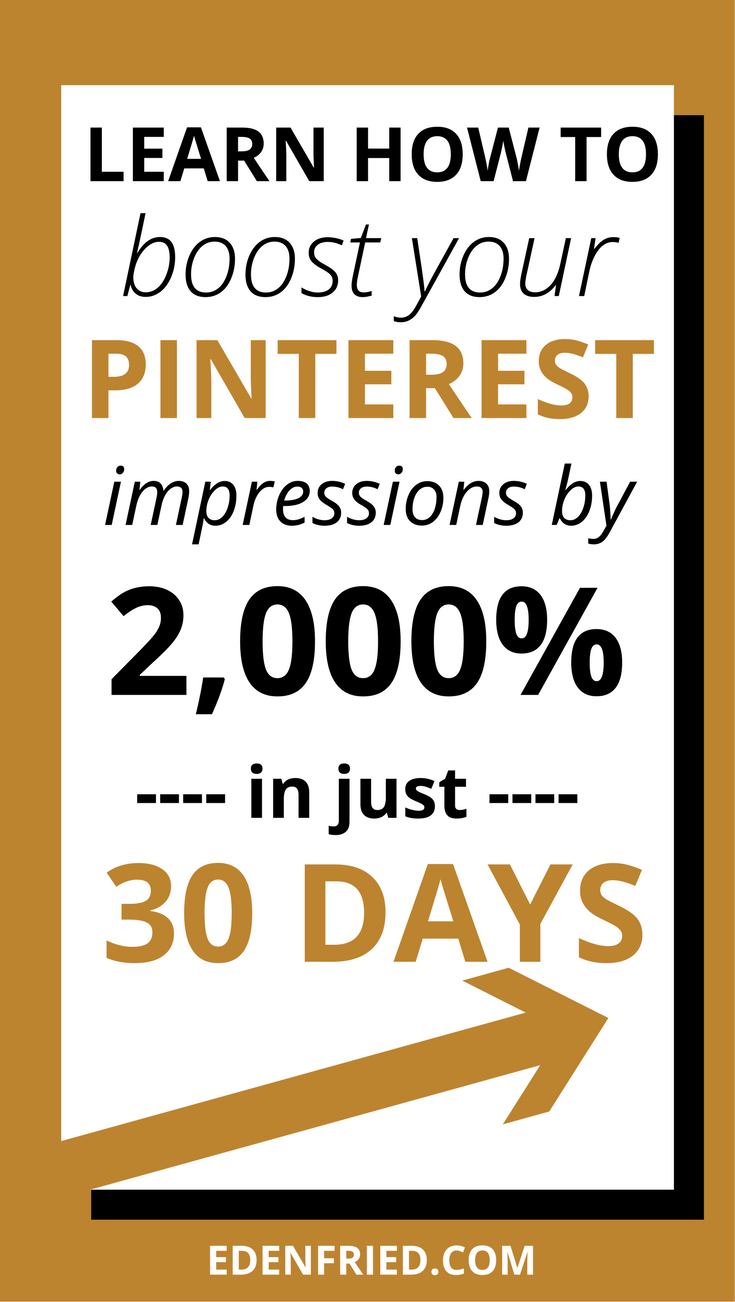 Here's how to increase pin impressions so that you can have your pins showing up in front of more people - meaning more clicks and traffic! Get more pinterest traffic. More traffic from Pinterest. Pinterest followers. Pinterest impressions. Pin impressions. EdenFried.com