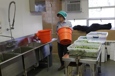 Katie preps our new salad spinner.