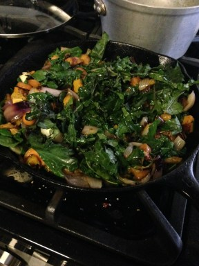Kale, butternut squash, red onions, and carrots