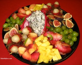 assorted exotic cut fruit platter figs-pineapple lychee melissas world produce edenmakers blog