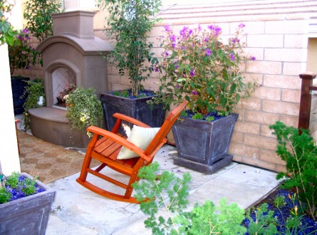 Rocking Chair and outdoor fireplace