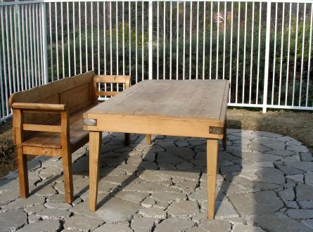 Recycled Concrete Patio and antique wood dining table sealed for outdoor use