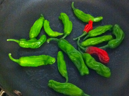 pan roasted shishito peppers with spray oil