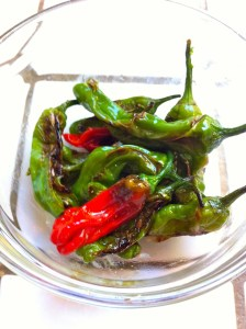Plate of pan roasted Shishito peppers