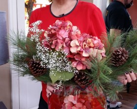 cristina-ferrare-floral-arrangement-hydrangeas at Home and Family show set.