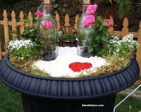 Liquor-bottle-arbor-for-roses-mini-garden-for valentines shirley-bovshow