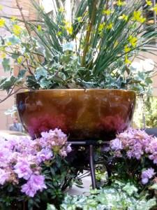 Copper planter with ornamental grass