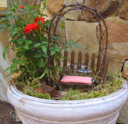 Miniature rose garden in a pot