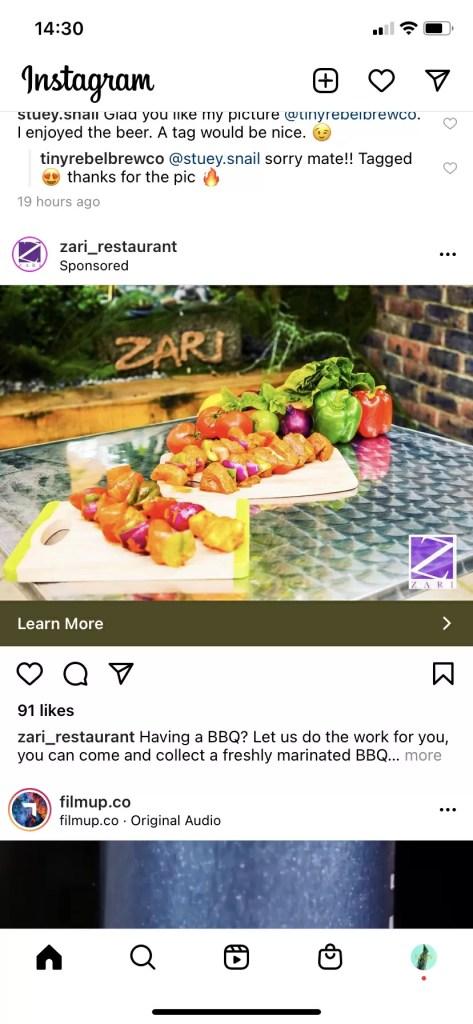 Zari social media advert