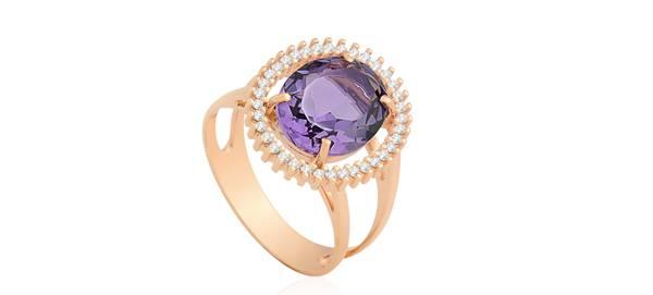Anel Ouro Rosé Diamantes e Ametista_Coleção Alteza_DE 3.590,00 POR 2.154,00
