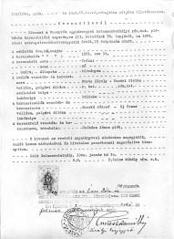 1871 Teres Vőrős Birth Certificate, Pőlőske