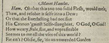 First Folio Act1 Scene2 quote - Hamlet dating clue