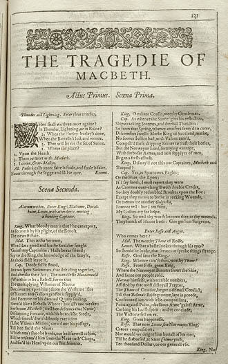 First Folio page - Macbeth Gunpowder Plot 1605
