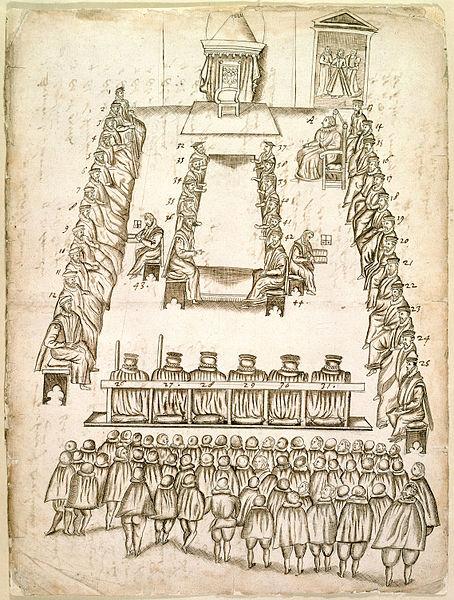 Mary Stuart trial Beale drawing - Stratford Shakespearean stranger humour