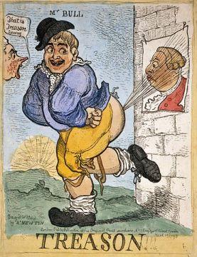 Cartoon John Bull treasonably farts at George III - Aubrey Brief Lives gossip