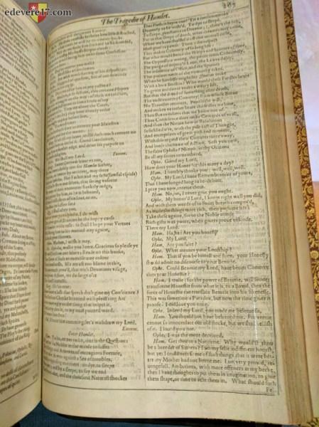 First Folio 1pg Hamlet soliloquy display image - Folger Shakespeare Folio tour