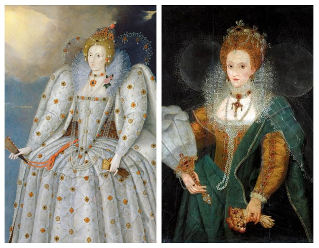 Two portraits of Elizabeth I - Ditchley and unnamed - Oxford gloves Medici perfume