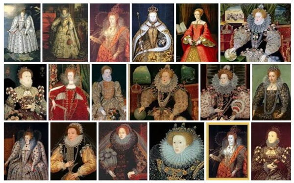 Grid of portraits of Elizabeth I - Oxford gloves Medici perfume