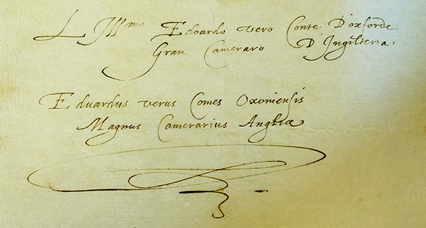 EO signatures in Italian and Latin - Venice 1575 - SHAKE-SPEARE'S HANDWRITING