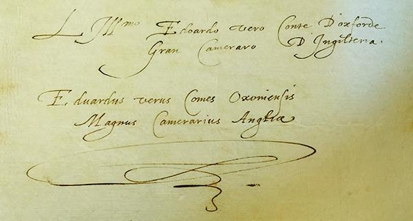 EO signatures in Italian and Latin - Venice 1575 - SHAKE-SPEARE'S HANDWRITING