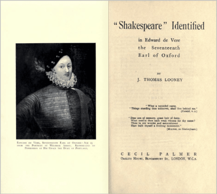Shakespeare Identified 2pg title display image - Looney centennial limerick Oxford
