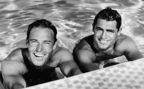BFFs Randy and Cary in swimming pool - limerick Randolph Scott Hollywood
