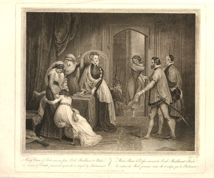 Imagined etching from 1794 Mary gets death warrant - Mary Queen Scots trial